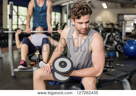 Fit man lifting dumbbell at gym