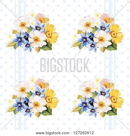 Floral pattern blue white yellow flowers Vector Illustration EPS8
