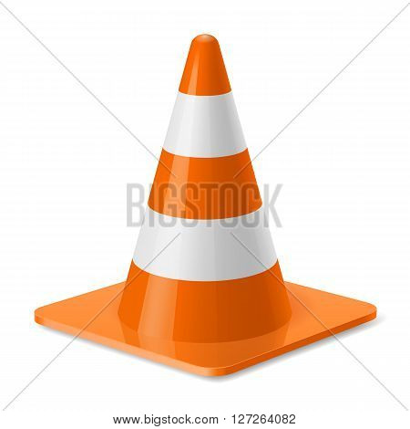 White and orange traffic pylon. Safety sign used to prevent accidents during road construction