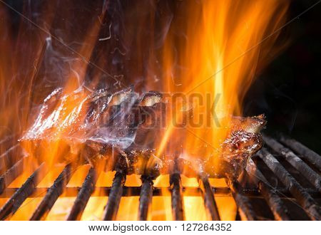 Delicious grilled pork ribs on a barbecue grill with fire flames.