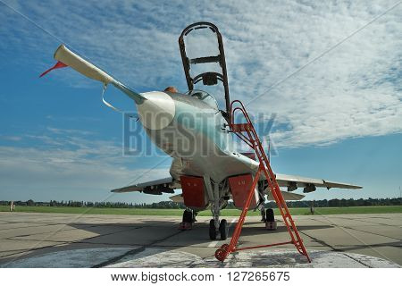 Vasilkov Ukraine - June 19 2010: Ukrainian Air Force MiG-29 fighter plane parked on the apron on the airbase