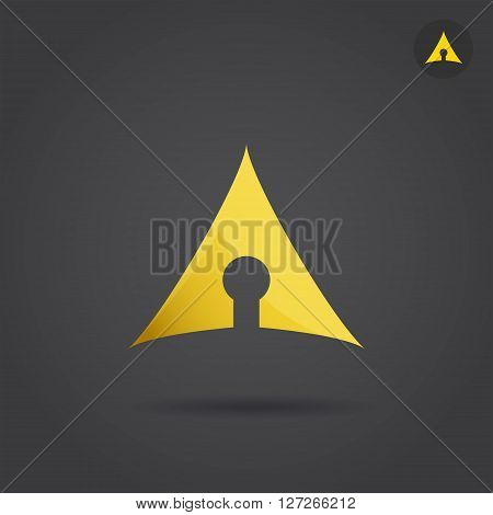 Keyhole icon on dark background 2d vector logo illsutration eps 10