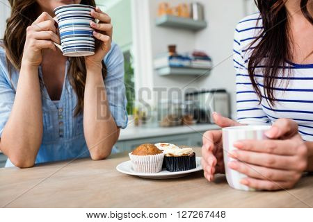 Midsection of female friends holding coffee mugs while sitting at table in kitchen