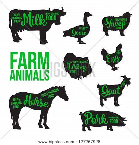 Black contour farm animals with a green inscription inside, vector set of different animals, cattle, poultry, horned animal, domestic goose, food, animal outline for the product poster