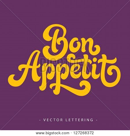 Bright yellow French Bon Appetit inscription on purple background