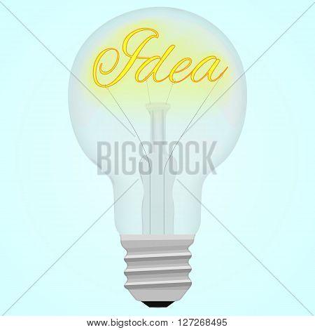 Idea glower text inside the light bulb on white blue background. Vector illustration.
