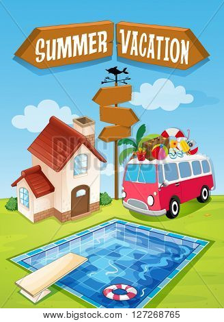 Summer vacation sign with van and pool illustration