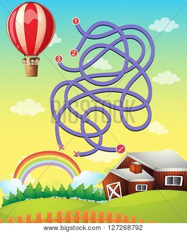 Game template with balloon flying illustration