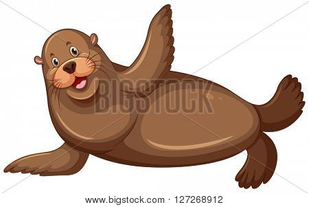 Sea lion with happy face illustration