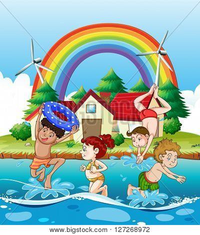 Children swimming in the sea illustration