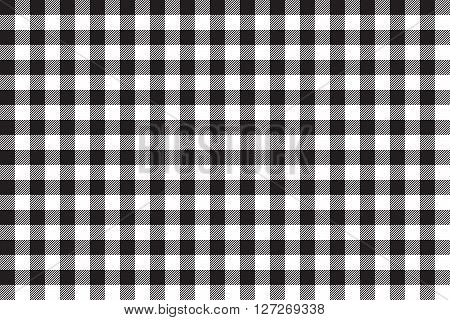 Tablecloth background black seamless pattern. Vector illustration of traditional gingham dining cloth with fabric texture. Checkered picnic cooking tablecloth.