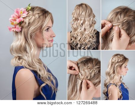 simple braid hairstyle with curly hair tutorial. Romantic evening hairstyle for long hair. Blond model hairstyle for bridesmaid with fresh alstroemeria