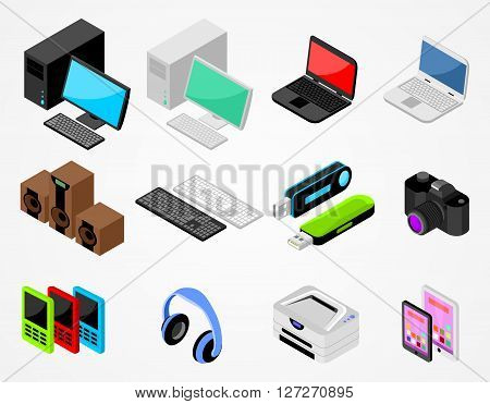 Set of isometric gadgets with desktop, laptop, keyboard, speakers, flash card, photo camera and other