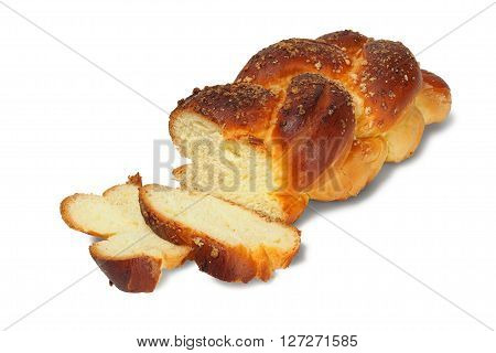 Loaf of sabbath challah isolated on white background