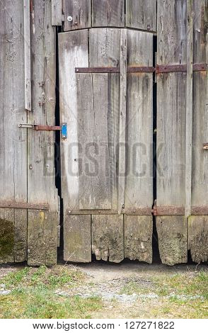 detail of a rundown old wooden barn in Southern Germany