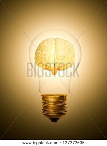 concept of brain within a light bulb lit up moment as a light bulb