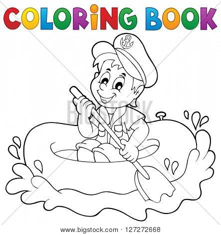 Coloring book little sailor theme 1 - eps10 vector illustration.