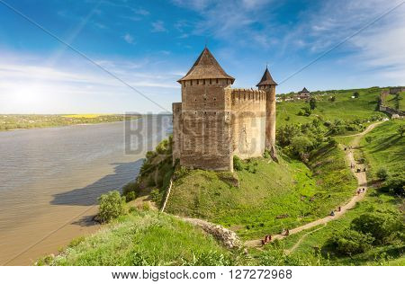 Wonderful panoramic view of fortress museum on a background of blue sky. Picturesque and gorgeous scene. Location famous place Khotyn, western Ukraine, Europe. Artistic picture. Beauty world.