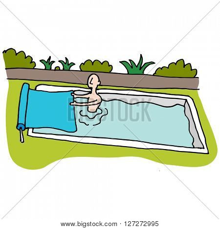An image of a Man using solar blanket pool cover.