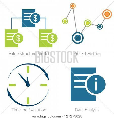 An image of a Business metrics icon set.