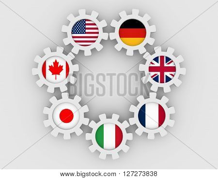 G7 association of seven national economies members flags on cog wheels. Group of Seven a governmental political forum. 3D rendering