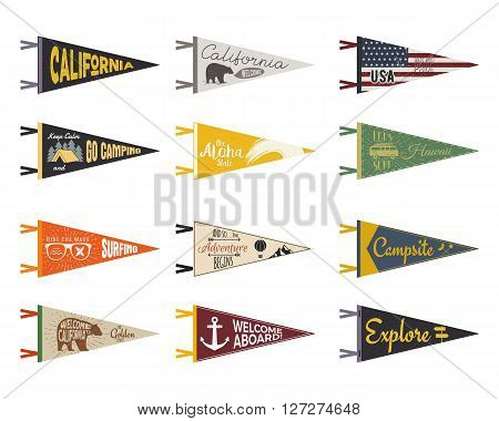 Set of adventure pennants. Pennant explore flags design. Vintage surf, caravan, rv templates. USA, california pennant with summer camp symbols trailer, signpost, anchor, bear. Summer hawaii old style.