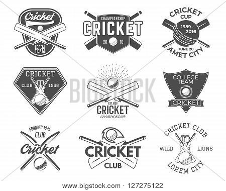 Set of cricket sports logo designs. Cricket icons vector set. Cricket emblems design elements. Sporting tee designs. Cricket club badges. Sports symbols with cricket gear equipment for web or t-shirt
