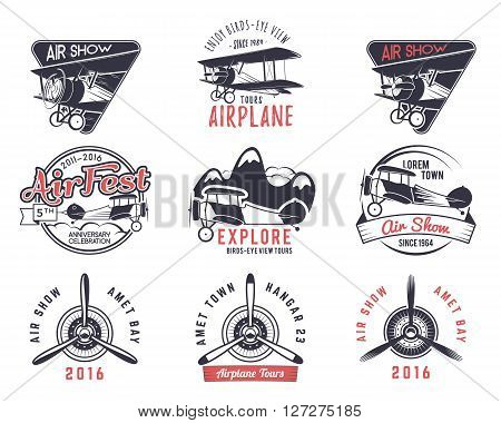 Vector old fly stamps. Travel or business airplane tour emblems. Biplane academy labels. Retro aerial badges isolated. Pilot school logo. Plane tee and t-shirt design for print, webdesign. Propeller