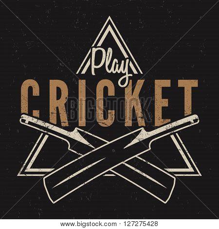 Retro cricket emblem design. Cricket logo icon design. Cricket badge. Sports logo symbols with cricket gear, equipment. Cricket tee design. Tee shirt emblem. T-Shirt prints retro style. Vector.