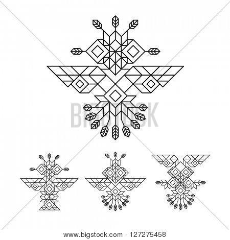 Tribal Owl Symbol. Ornate owl symbol in tribal style. Line Art Design. Owl Icon. Lineart Illustration