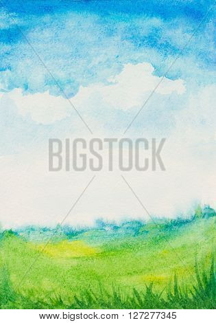 watercolor abstract textured background with sky cloudsgreen grass landscape