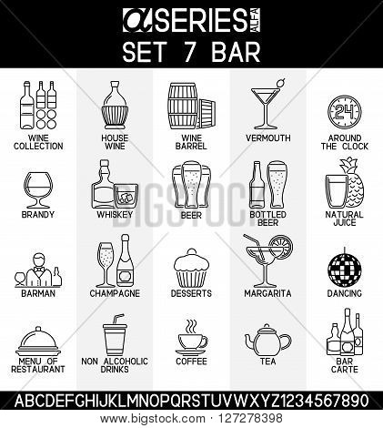 Set of line design icons of bar and alcoholic non alcoholic drinks EPS 8.