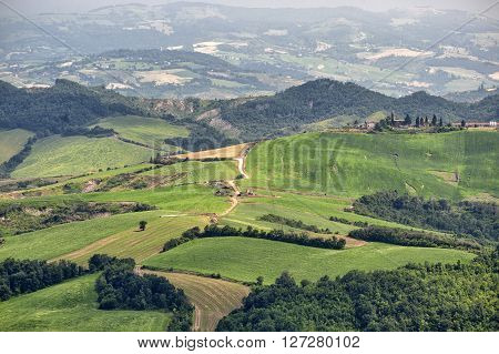 Landscape of the hills of Romagna (Italy) from Sogliano sul Rubicone at summer