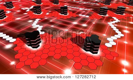 Hexagon supercomputer network on red with white nodes and hexagon shaped islands with data centers in black 3D illustration