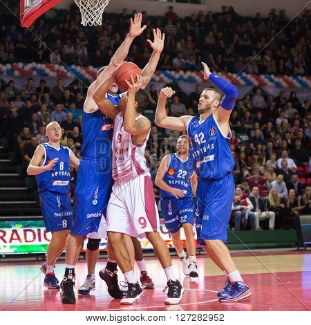 Bc Krasnye Krylia Guard Evgeny Chebanenko (9) Tries To Make A Shot
