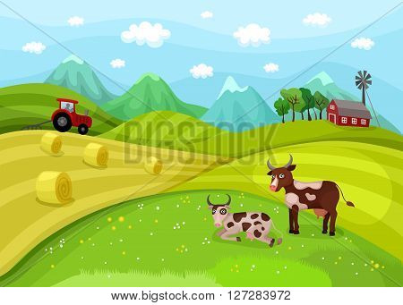 vector illustration with a beautiful green farm landscape