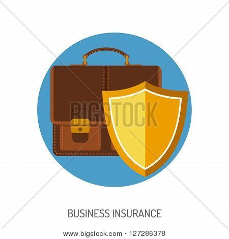 Business Insurance Flat Icon for Web Site, Advertising with Briefcase and Shield.