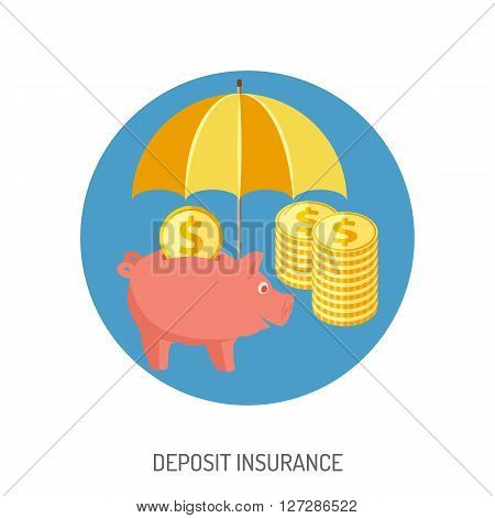Deposit Insurance Flat Icon for Web Site, Advertising with Piggy Bank, Umbrella, Coins.