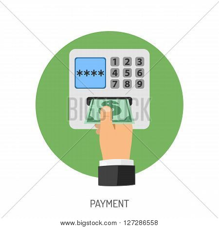 Payment Flat Icon for Web Site, Advertising like ATM, Hand, Money.