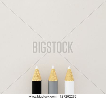 Three pencil tips on light background. Mock up