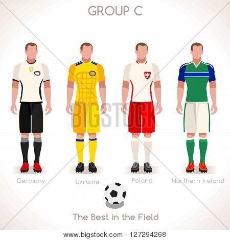 France EURO 2016 Championship Infographic Qualified Soccer Players GROUP C. Football Game Jersey flags of final participating countries. Flat People Icon. JPG. JPEG. Picture. Image. Graphic. Art. Illustration. Drawing. Object. Vector. EPS. AI.