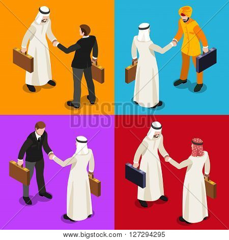 International Business Hand Shaking Infographic. Businessman Meeting Negotiation and Agreement Arab Middle East Ethnicity.Flat 3D Isometric People Set. Isolated Elements Icon. JPG. JPEG. Picture. Image. Graphic. Art. Illustration. Drawing. Object. Vector.