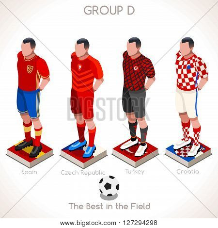 France EURO 2016 Championship Infographic Qualified Soccer Players GROUP D. Football Game Jersey flags of final participating countries. 3D Flat Isometric People Icon. JPG. JPEG. Picture. Image. Graphic. Art. Illustration. Drawing. Object. Vector. EPS. AI