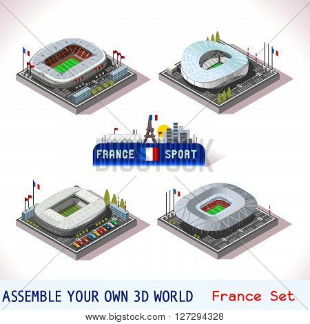 EURO 2016 France Stadium Football Icons. Nizza Allianz Villenueve Mauroy Marseille Velodrome Decines Charpieu Olympique. Flat 3D City Map Isometric Infographic Elements Game Tiles Icon. JPG. JPEG. Picture. Image. Graphic. Art. Illustration. Drawing. Objec