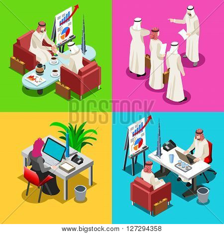 Middle Eastern Arab Sheik Businessman 3D Flat Isometric People Collection. Arab Business Man Drawing. Finance Character Picture. Infographic Elements Isolated Icon. JPG. JPEG. Picture. Image. Graphic. Art. Illustration. Drawing. Object. Vector. EPS. AI.