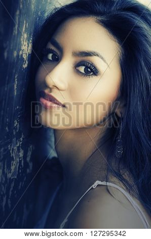 Beautiful young woman mixed race,