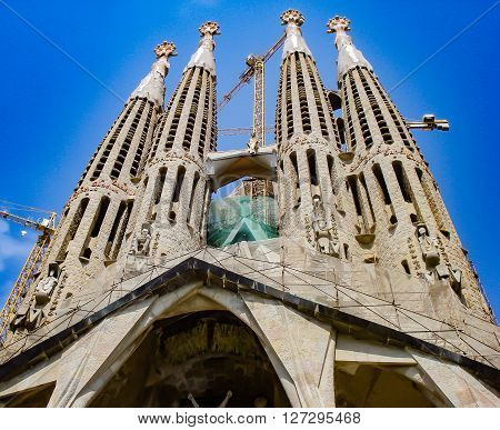 SAGRADA FAMILIA, BARCELONA, SPAIN, 24 AUGUST, 2011: The famous Sagrada Familia at noon time.