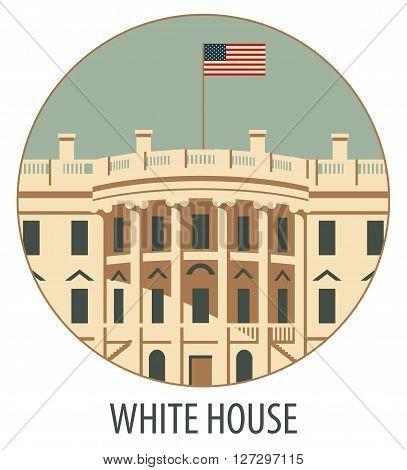 vector illustration white house washington dc with flag