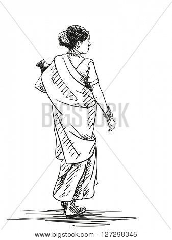 Sketch of walking woman in sari carrier jug, Hand drawn illustration