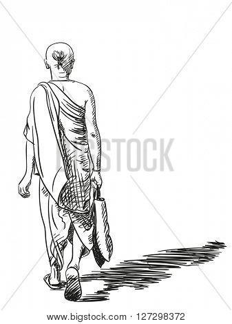 Sketch of walking brahmin man, View from back, Hand drawn illustration